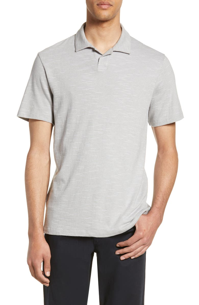 VINCE Slim Fit Stripe Polo, Main, color, DK DOVE GREY/ OPTIC WHITE