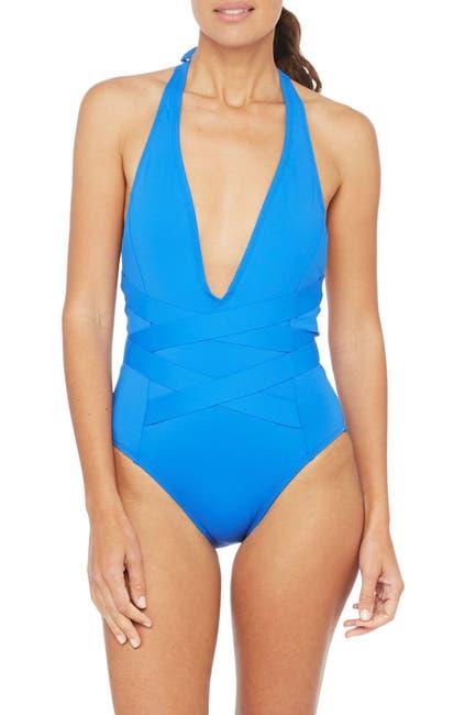 Image of La Blanca Swimwear Plunge Neck One-Piece Swimsuit