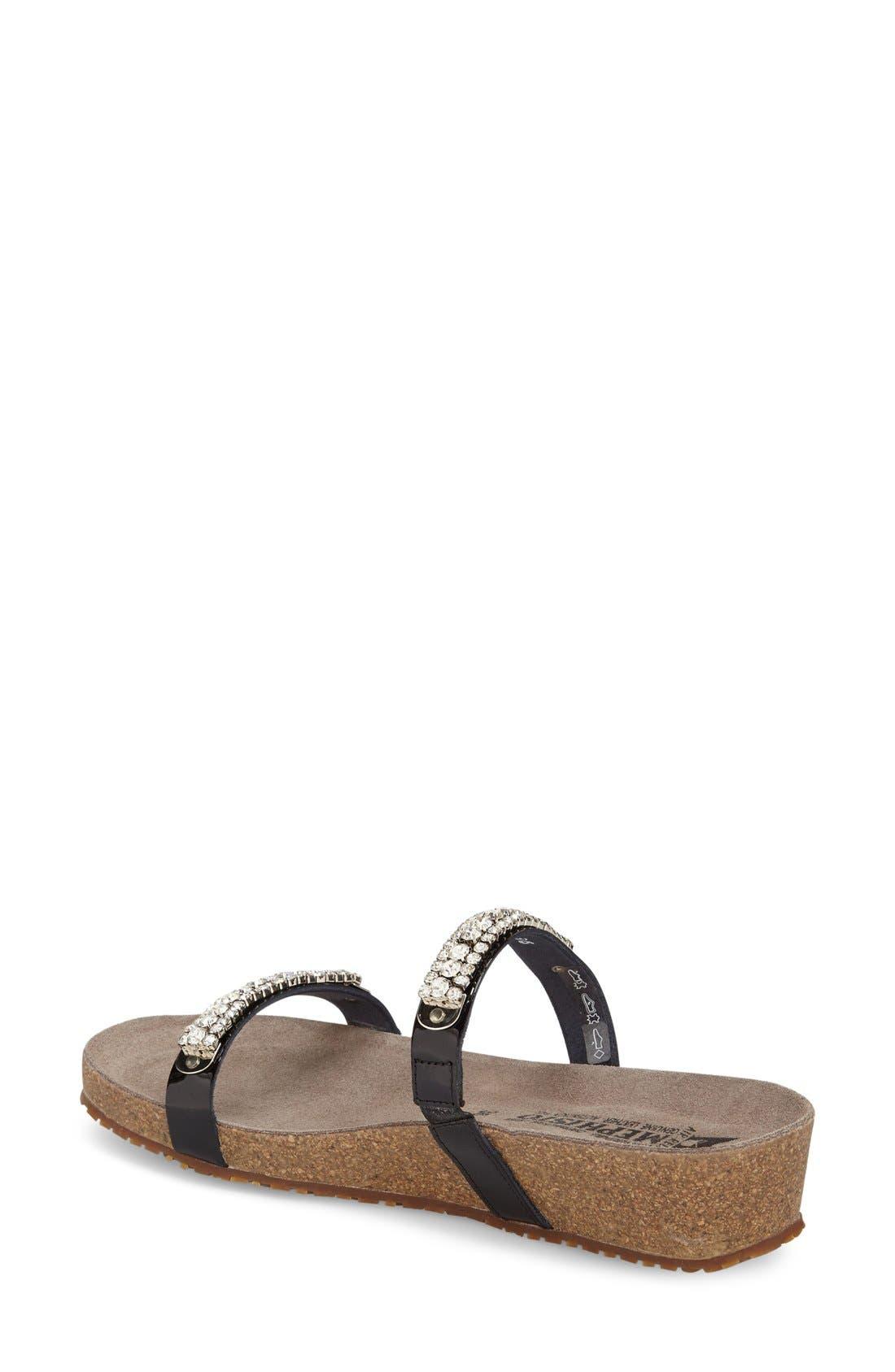 ,                             'Ivana' Crystal Embellished Slide Sandal,                             Alternate thumbnail 2, color,                             BLACK PATENT