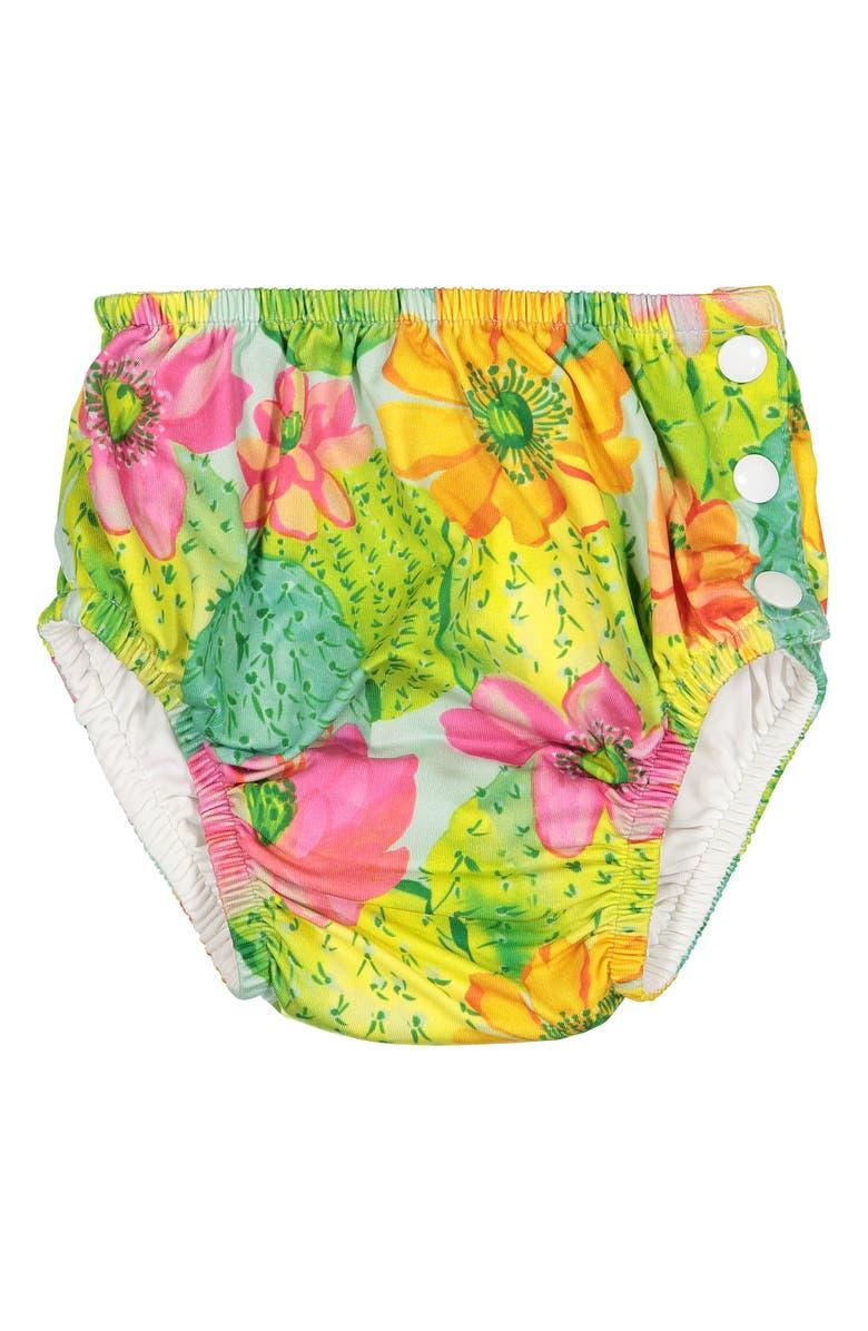 MASALA BABY Cactus Floral Swim Diaper Cover, Main, color, MULTI