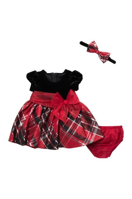 Image of GERSON & GERSON Tartan Velvet Cap Sleeve Dress & Bloomer Set