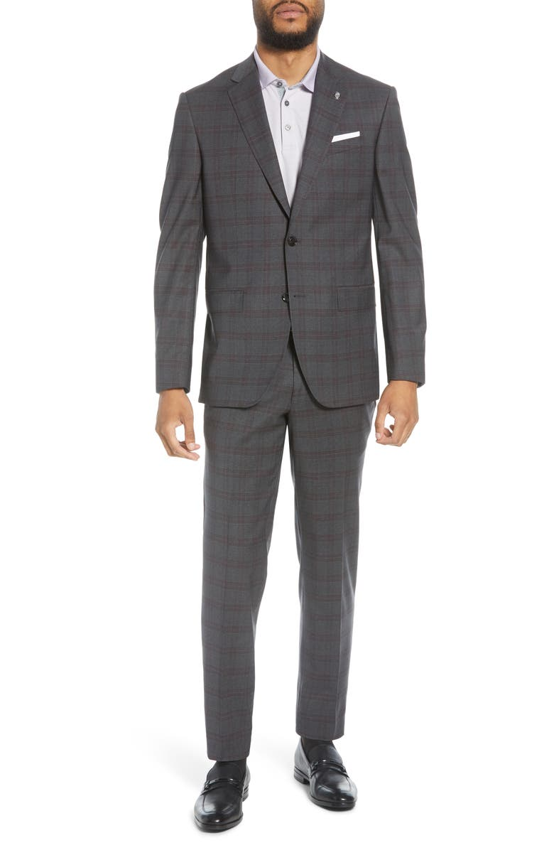 TED BAKER LONDON Jay Trim Fit Plaid Stretch Wool Suit, Main, color, GREY