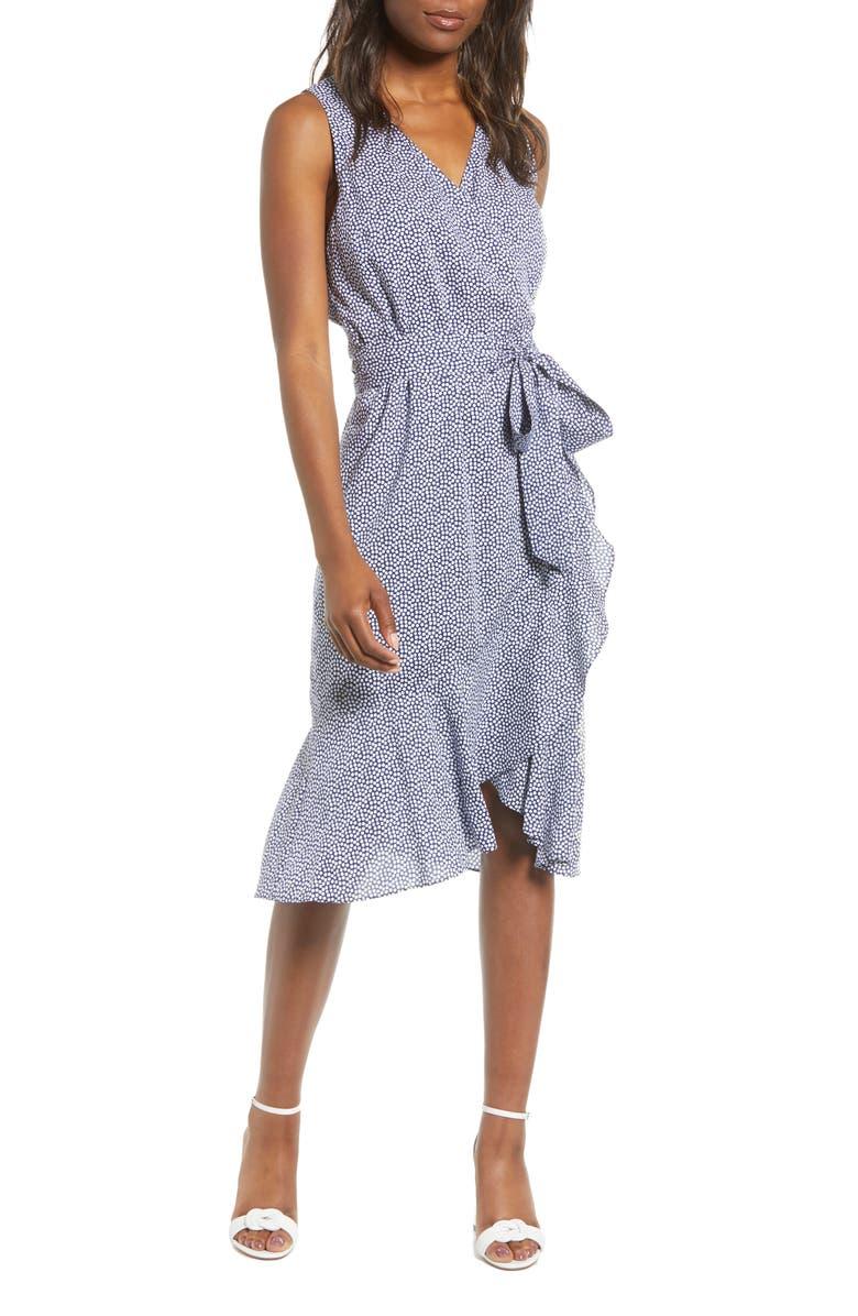 VINEYARD VINES Scallop Dot Wrap Dress, Main, color, 400
