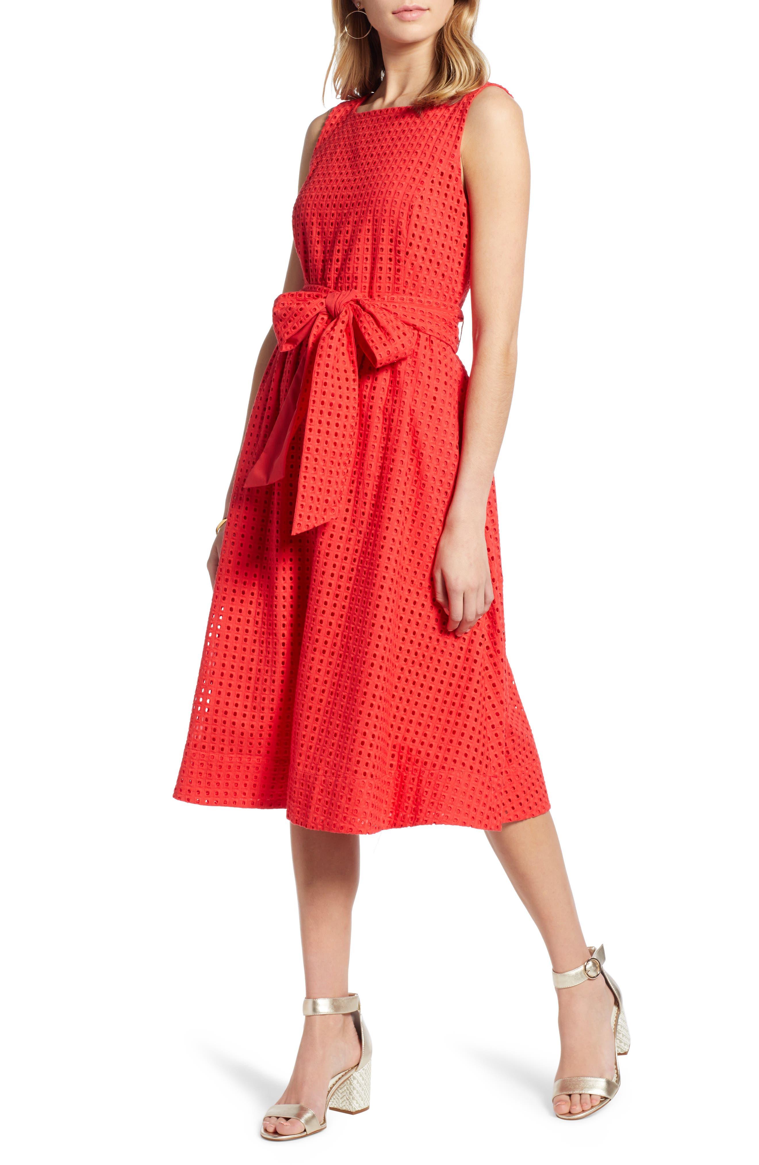 Petite 1901 Tie Waist Eyelet Dress, Red