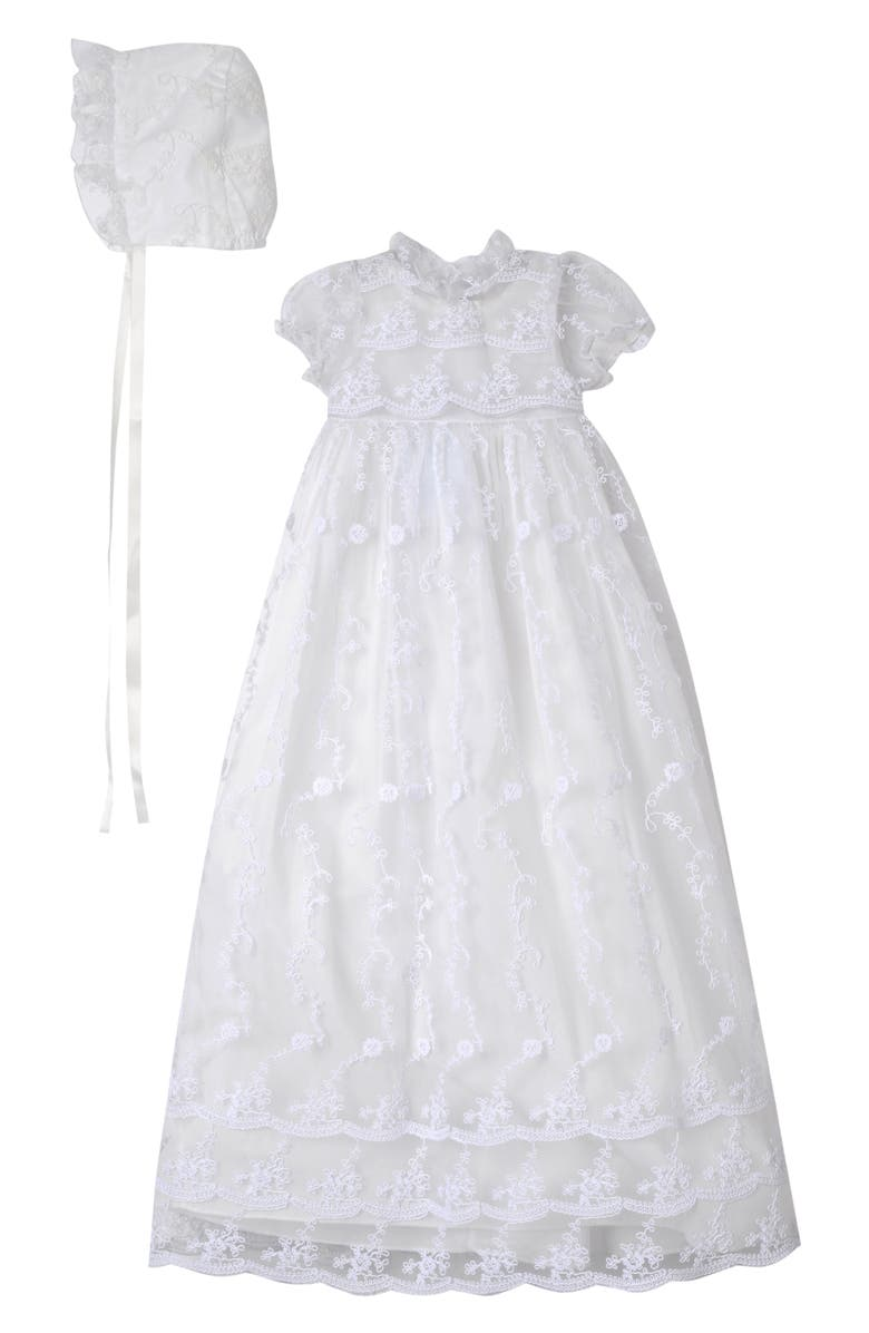 LAURA ASHLEY Embroidered Gown with Bonnet, Main, color, IVORY