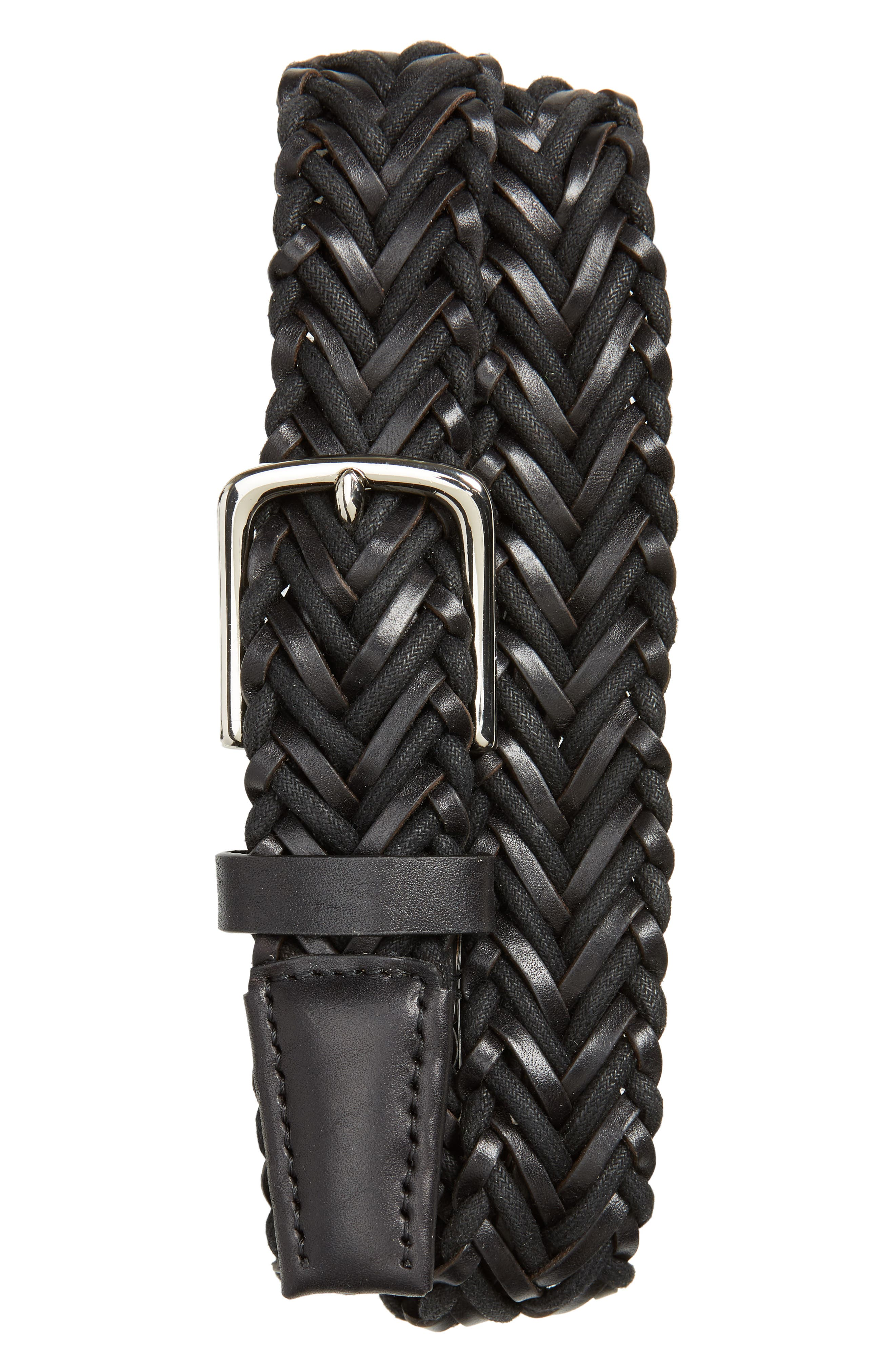 Cole Haan Braided Leather & Cord Belt, Black/ Polished Nickel