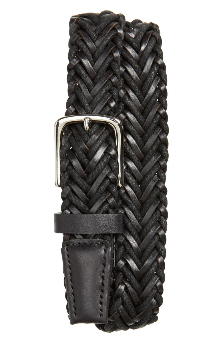 COLE HAAN Braided Leather & Cord Belt, Main, color, BLACK/ POLISHED NICKEL