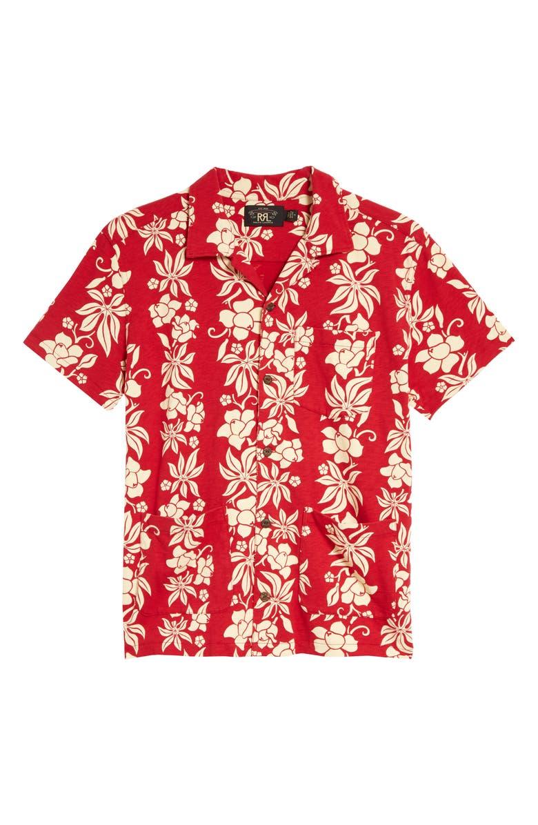 RRL Floral Print Cotton Button-Up Camp Shirt, Main, color, BERMUDA RED