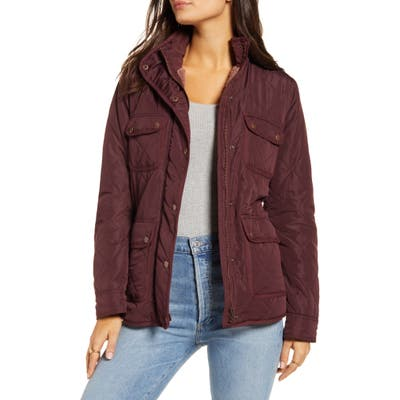 Thread & Supply Fleece Lined Quilted Utility Jacket, Burgundy