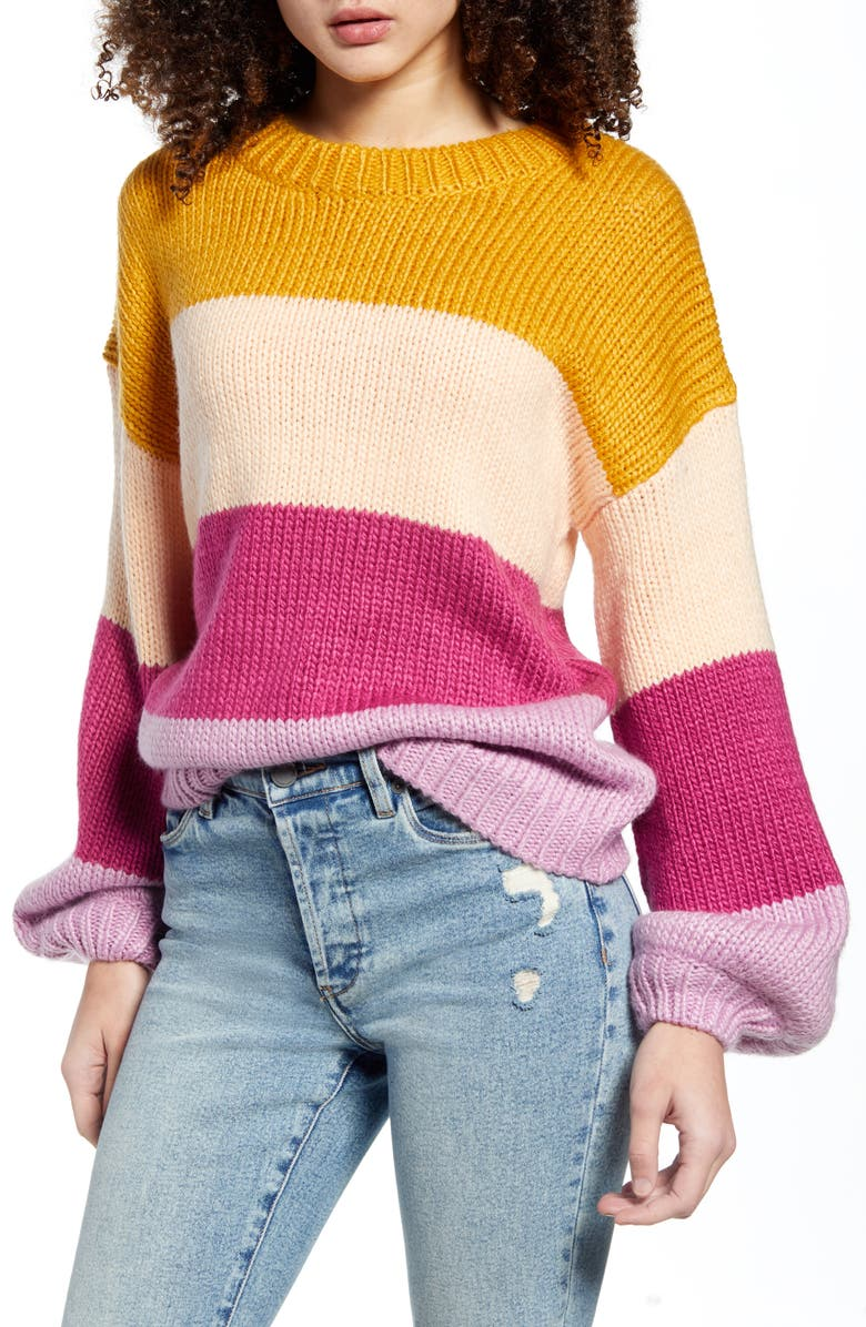 MINKPINK Cozy Up With Me Sweater, Main, color, PURPLE MULTI