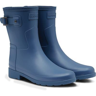 Hunter Original Refined Short Waterproof Rain Boot, Blue