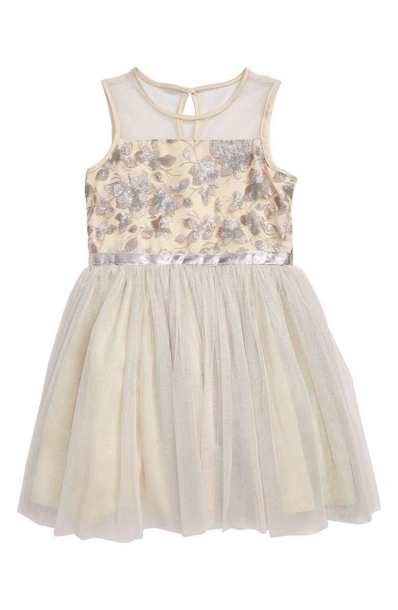 BCBG GIRLS BCBG Embroidered Mesh Dress, Main, color, WHITE