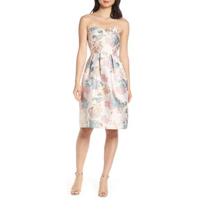 Chi Chi London Haven Strapless Jacquard Party Dress, Pink