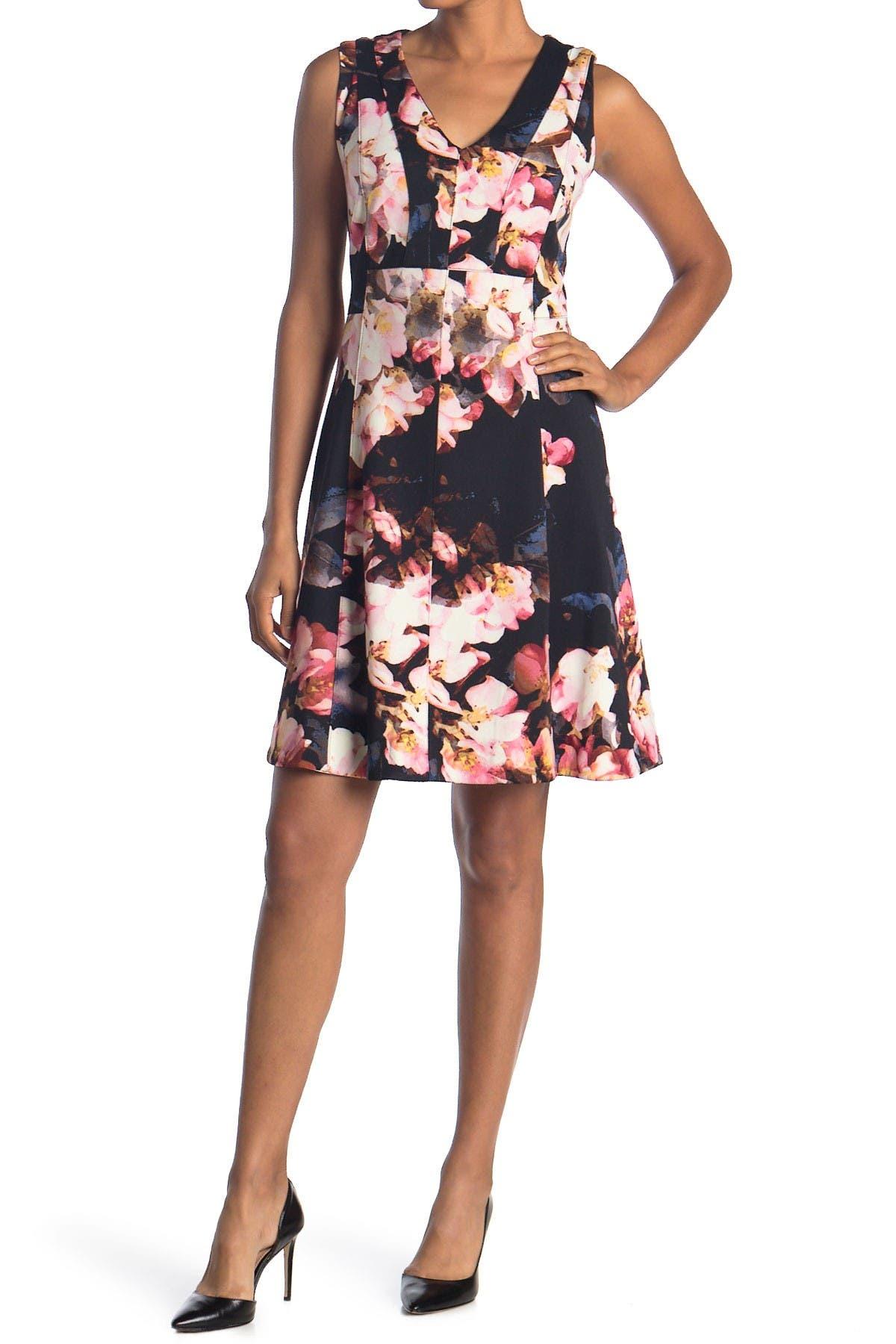 Image of Taylor Floral V-Neck Scuba Dress