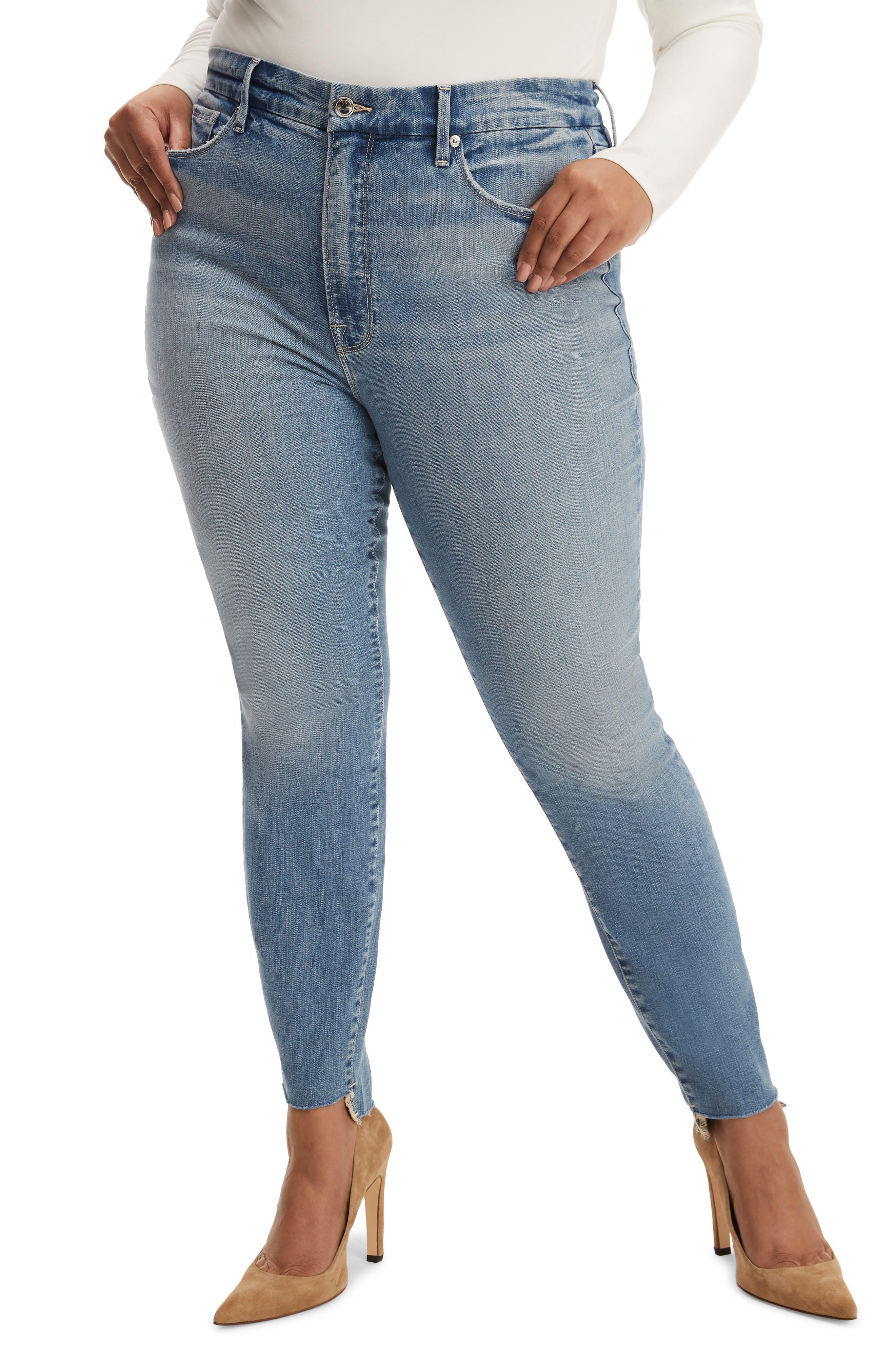 Women's Good American Good Legs Raw Step Hem Skinny Jeans