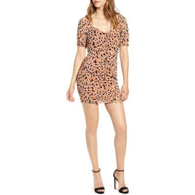 J.o.a. Animal Print Ruched Front Minidress, Brown
