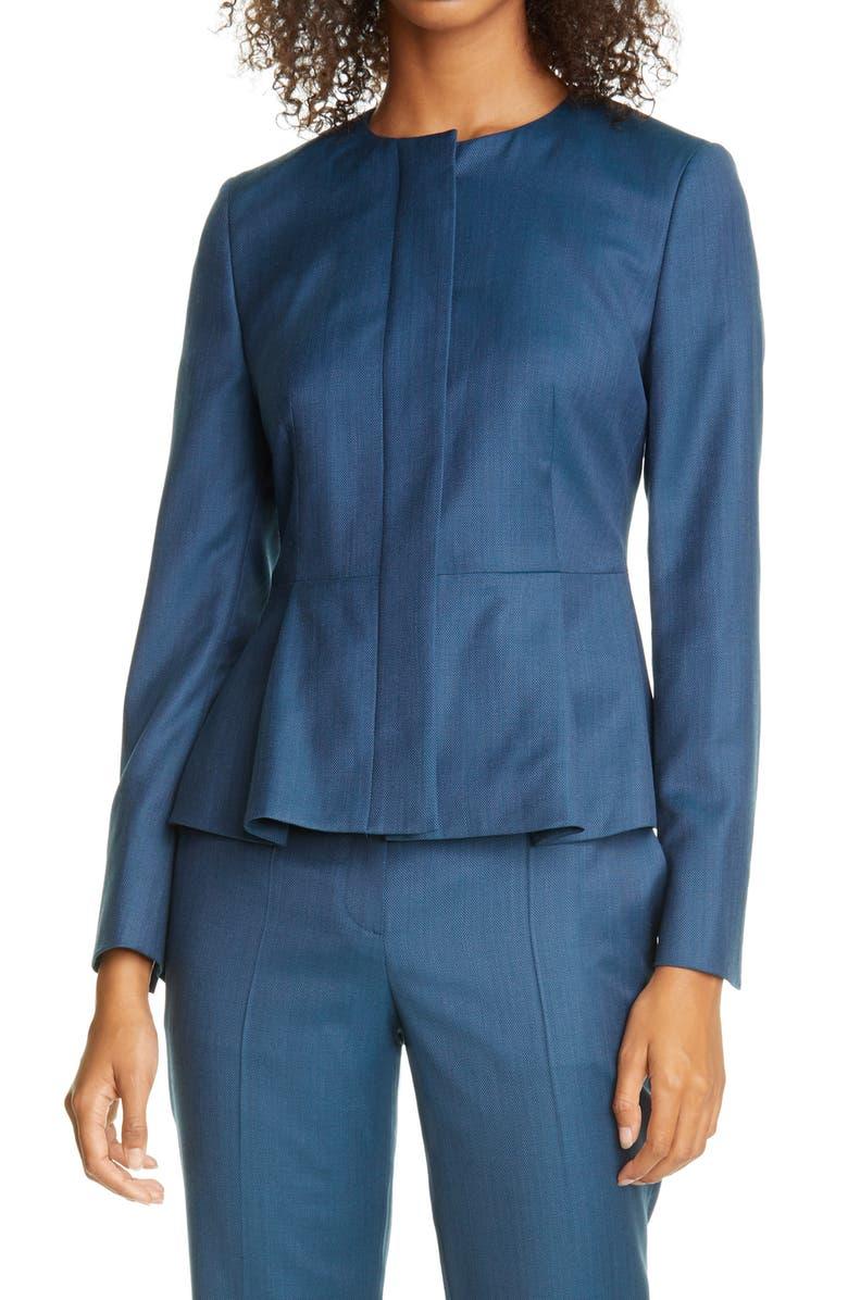 BOSS Jatoba Peplum Wool Jacket, Main, color, BLUE JADE FANTASY