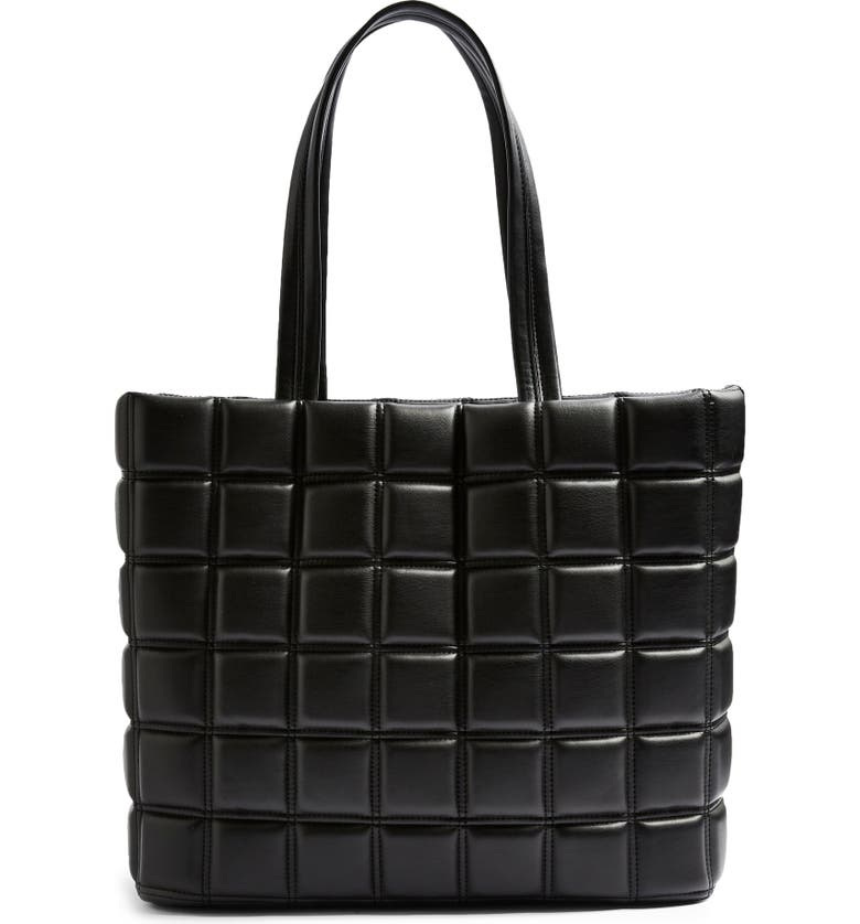 TOPSHOP Riley Quilted Faux Leather Tote, Main, color, 001
