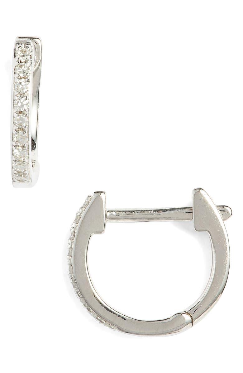 EF COLLECTION Mini Diamond Hoop Earrings, Main, color, 711