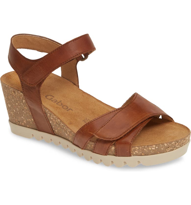 GABOR Wedge Sandal, Main, color, BROWN LEATHER