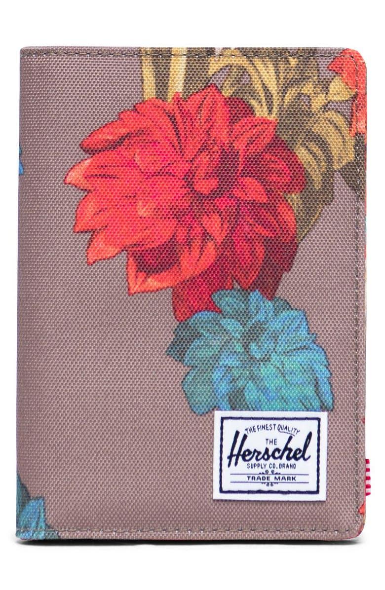 HERSCHEL SUPPLY CO. Raynor RFID Passport Holder, Main, color, VINTAGE FLORAL PINE BARK