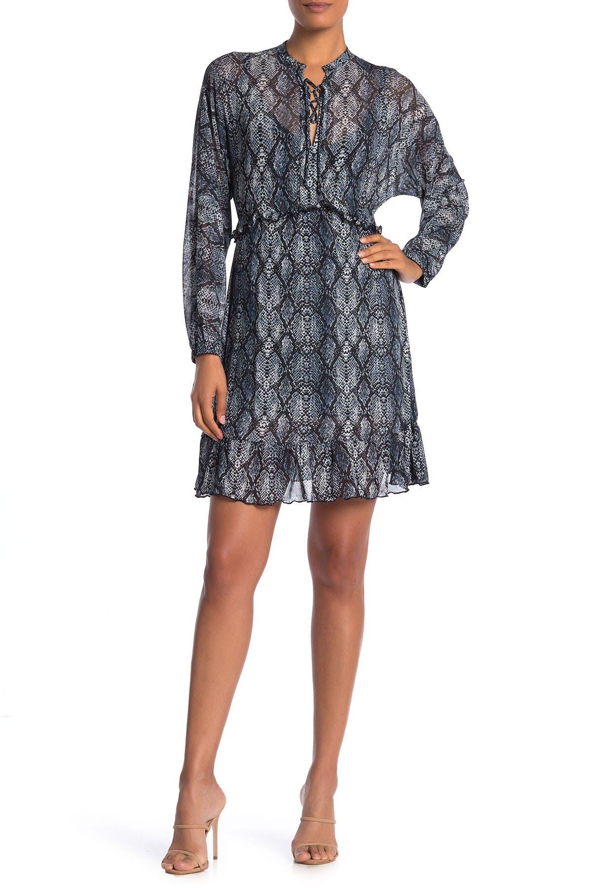 Image of Velvet Torch Mesh Long Sleeve Ruffled Dress