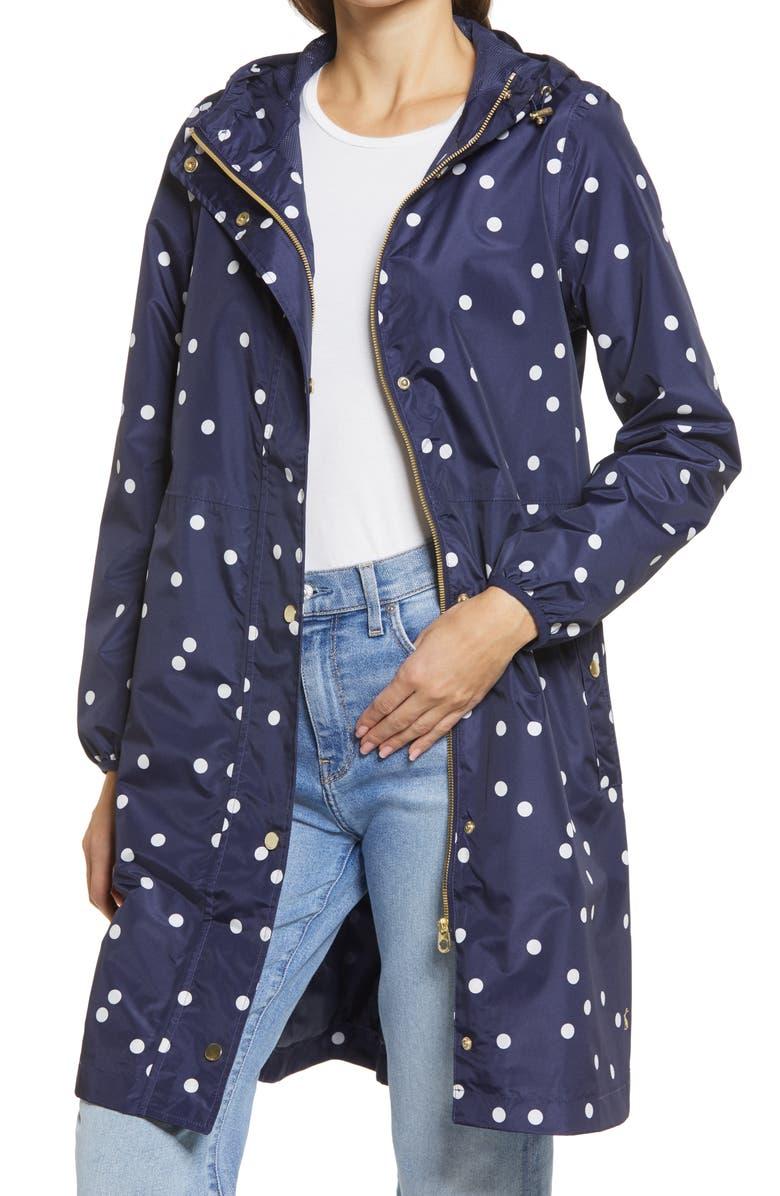 JOULES Women's Weybridge Polka Dot Packable Waterproof Raincoat, Main, color, NAVY SPOT