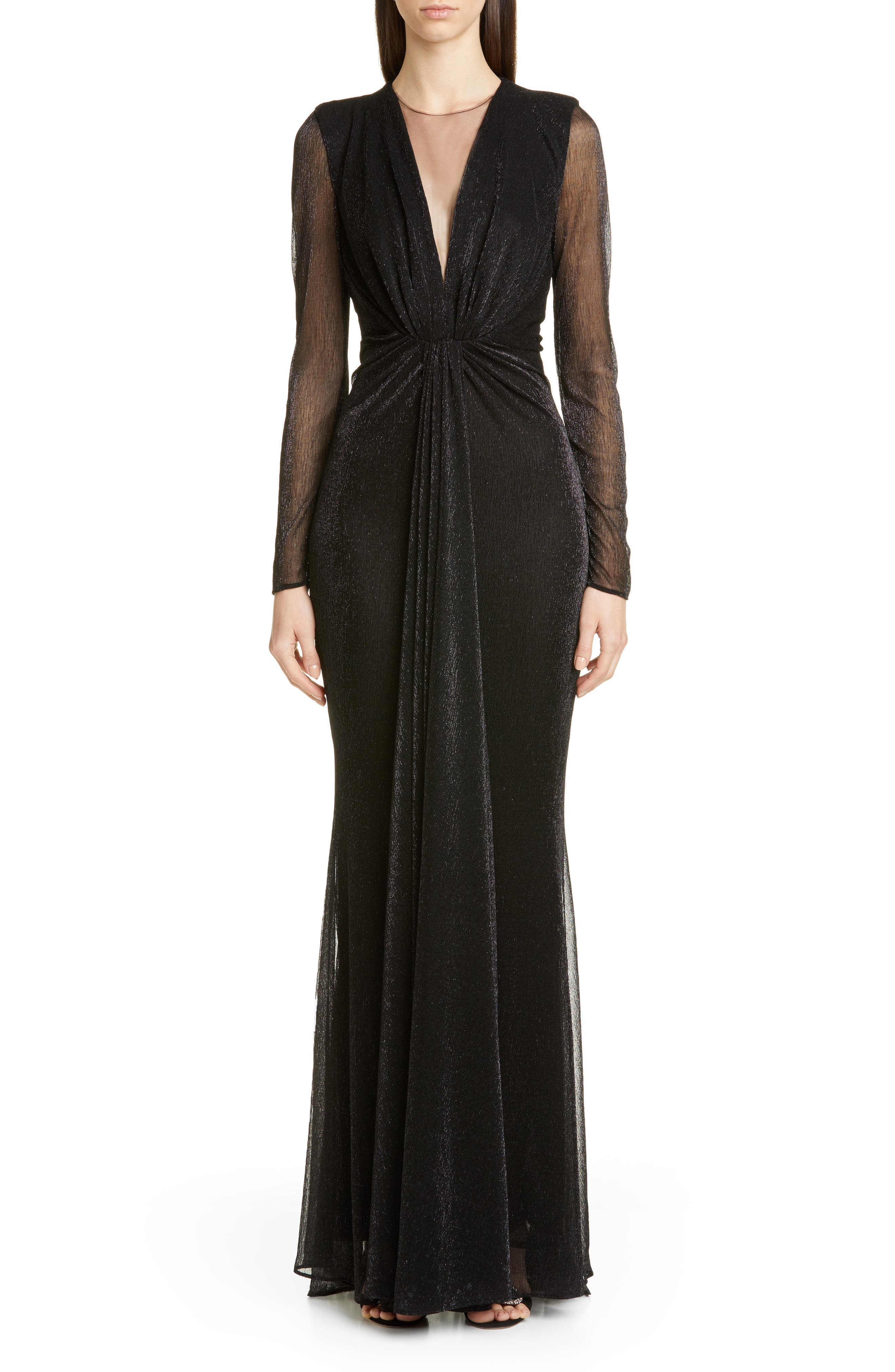 Talbot Runhof Long Sleeve Metallic Evening Gown, Black