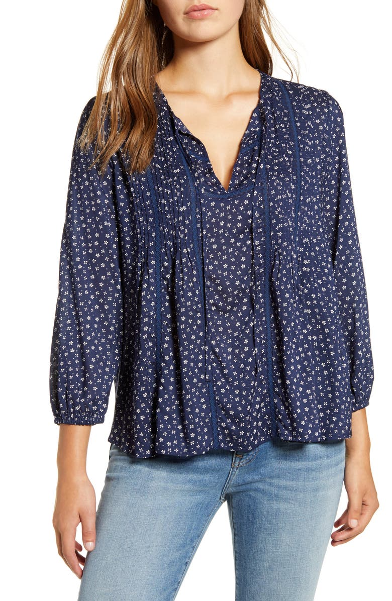 LUCKY BRAND Print Pleated Popover Top, Main, color, 400