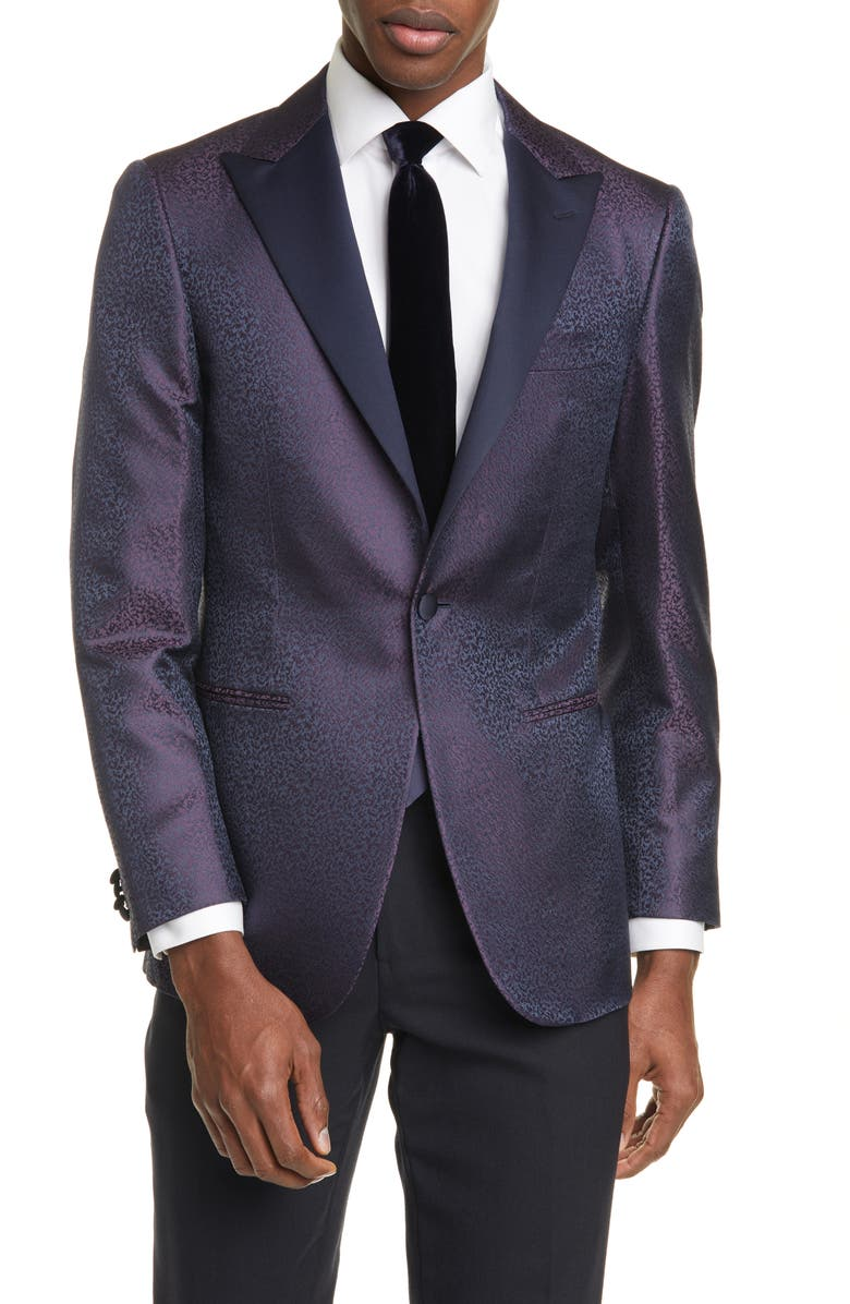 CANALI Siena Classic Fit Contemporary Paisley Silk Dinner Jacket, Main, color, NAVY