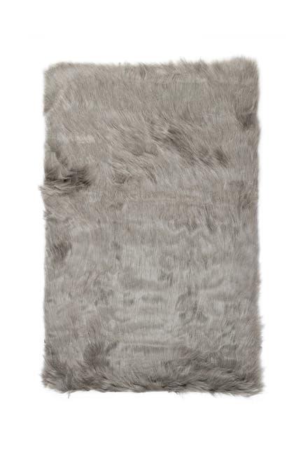 Image of LUXE Faux Fur Hudson Rectangular Rug - 2ft x 3ft - Grey