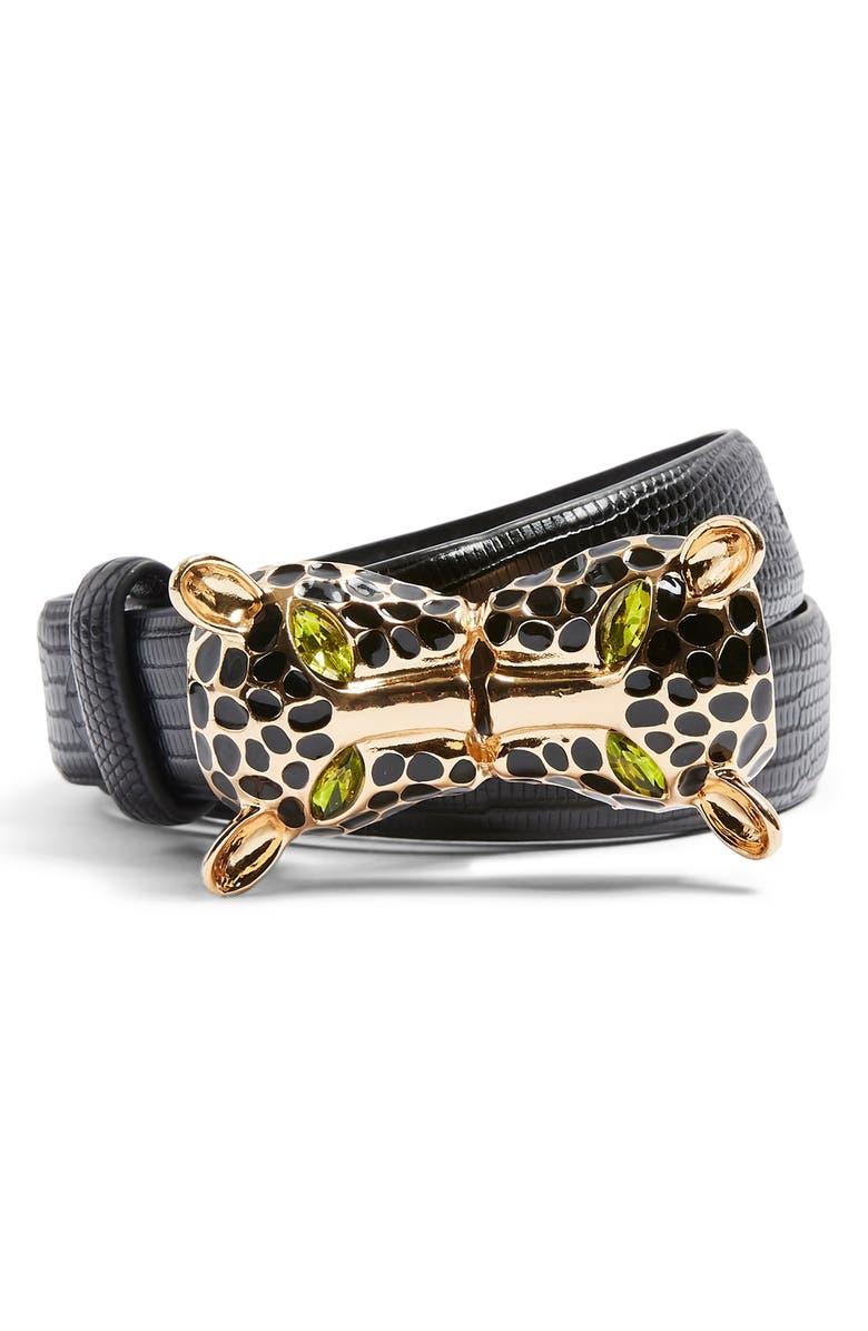 TOPSHOP Cheetah Buckle Faux Leather Belt, Main, color, BLACK MULTI