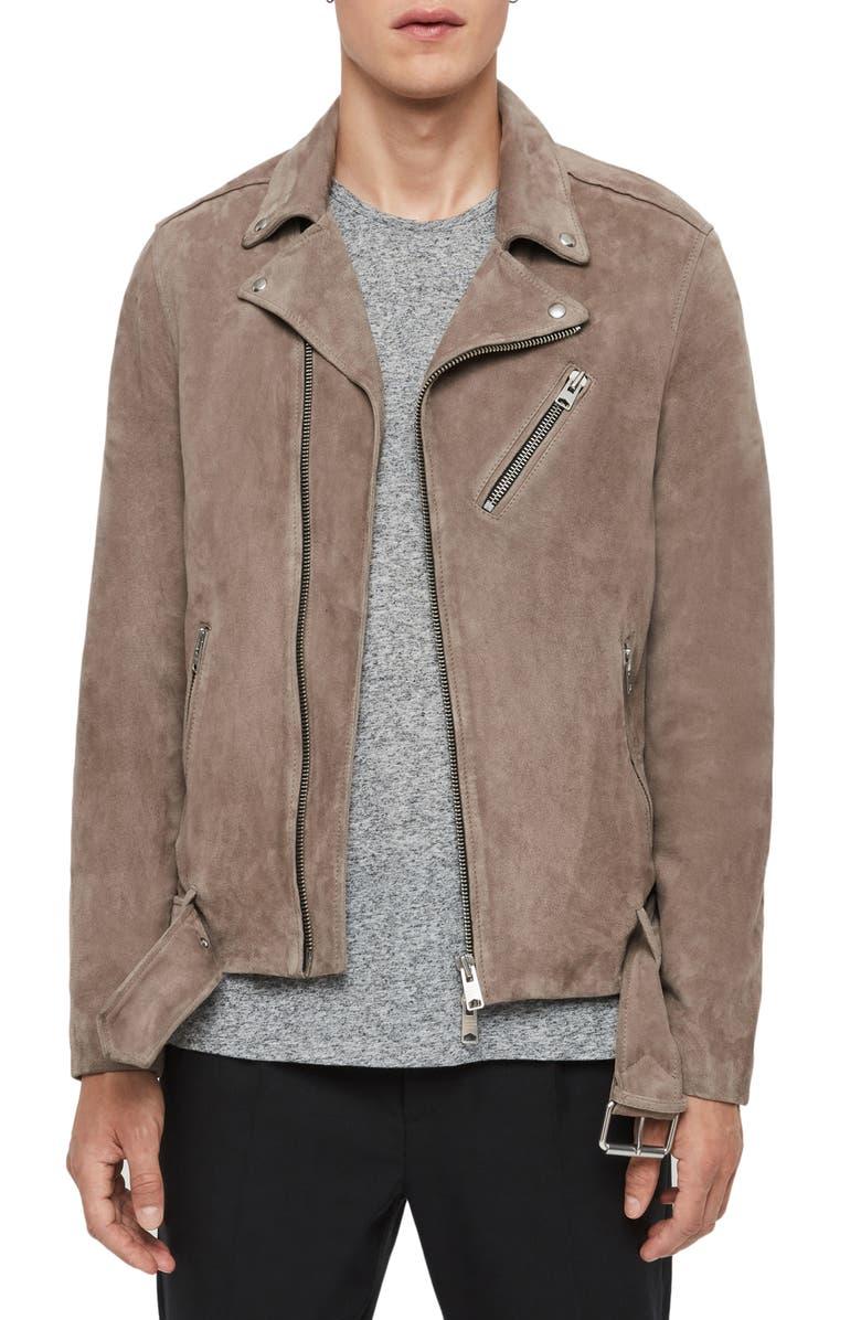 ALLSAINTS Rigg Classic Fit Suede Biker Jacket, Main, color, MINK GREY