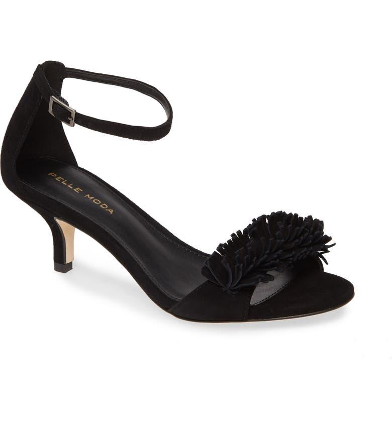PELLE MODA Imee Ankle Strap Sandal, Main, color, BLACK SUEDE