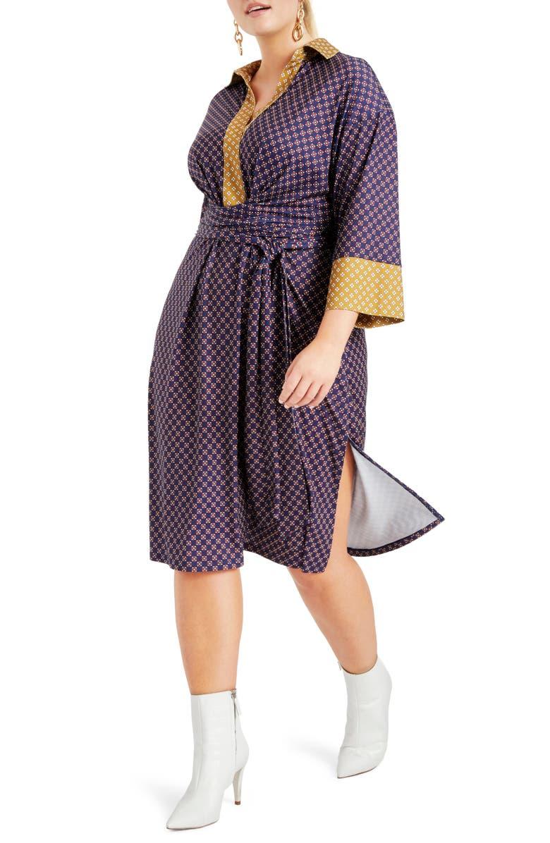 ELOQUII Foulard Print Tie Waist Dress, Main, color, FAB FOULARD