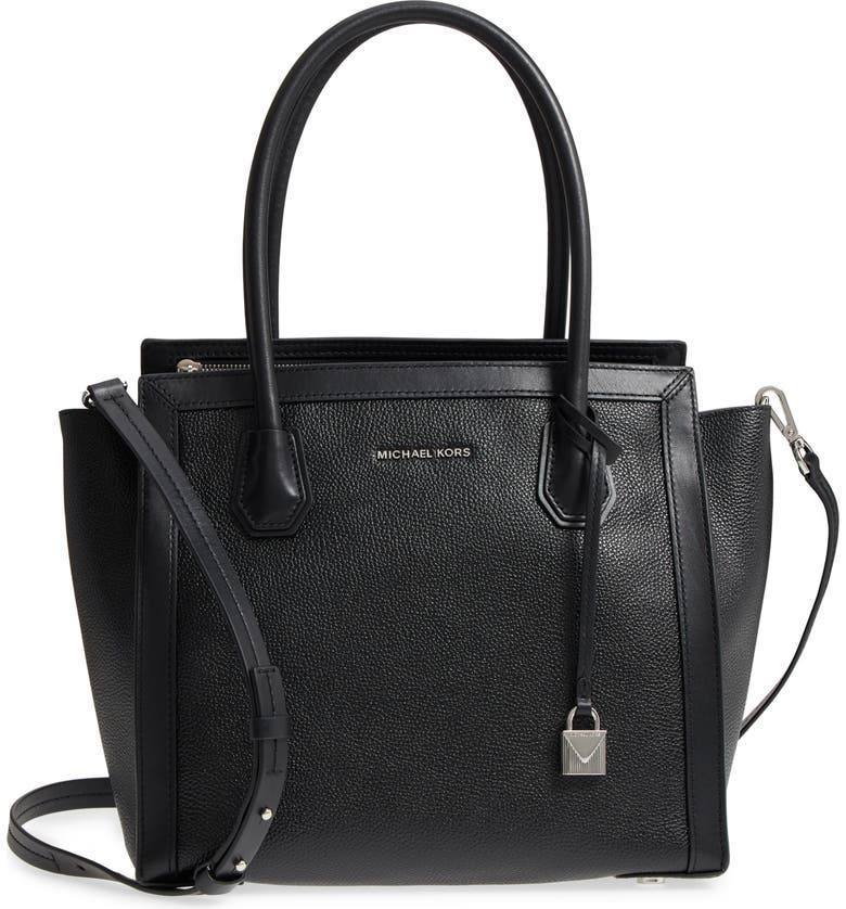 MICHAEL KORS MICHAEL Michael Kors Mercer Studio Leather Tote, Main, color, 001