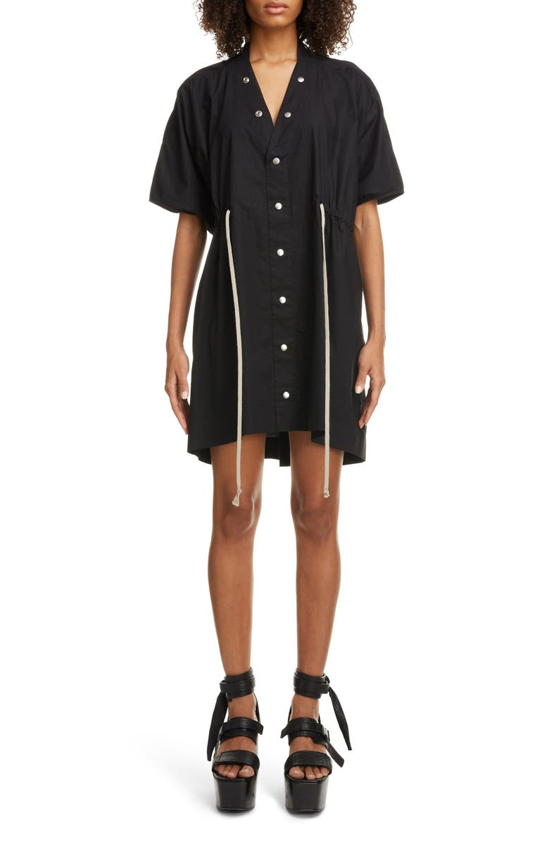 RICK OWENS Drawstring Waist Cotton Poplin Dress, Main, color, 09 BLACK