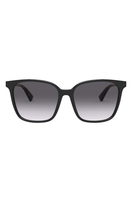 Valentino Rockstud 57mm Gradient Square Sunglasses In Black/ Black Gradient