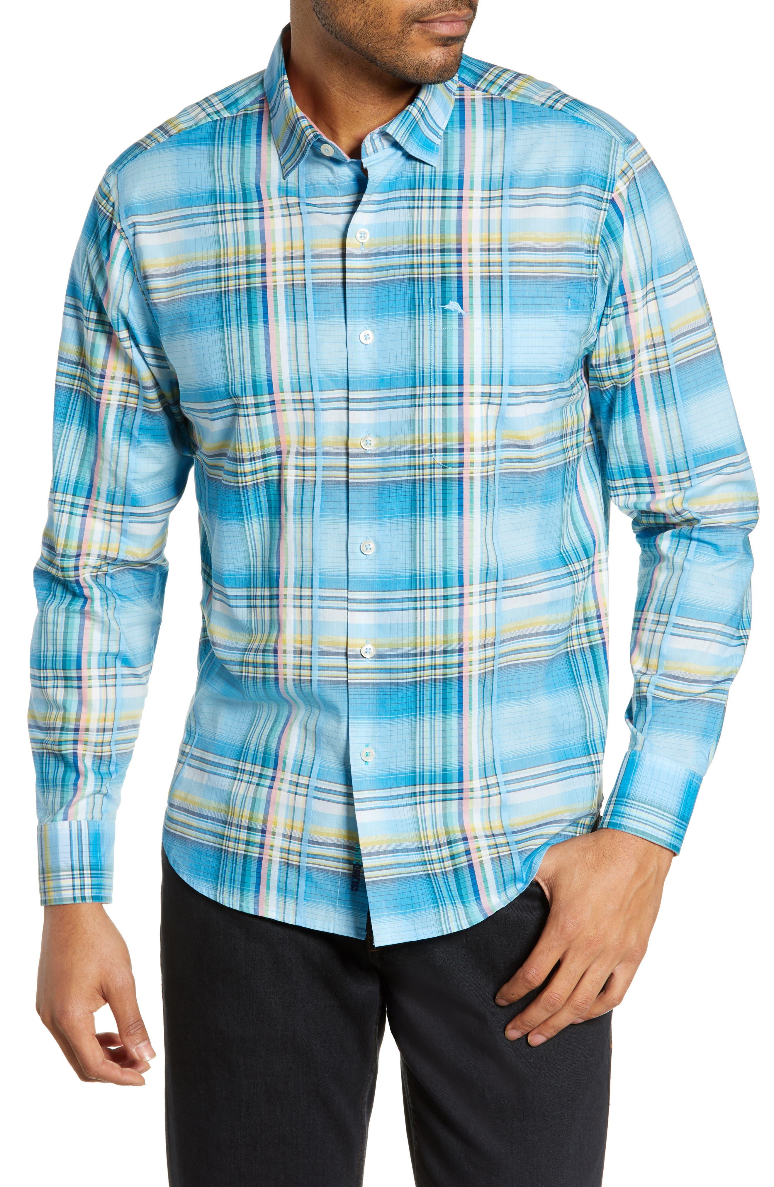 Palau Classic Fit Plaid Sport Shirt, Main, color, BEACH HUT BLUE