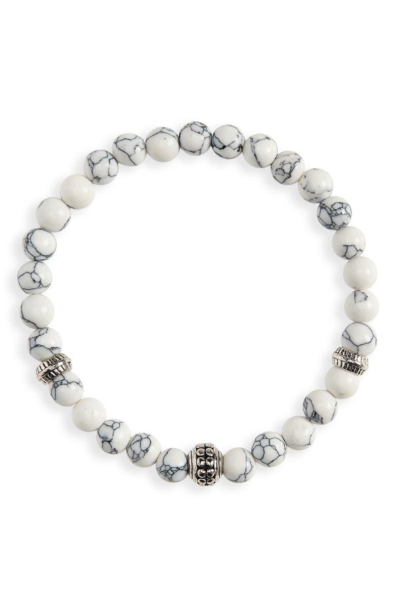 NORDSTROM MEN'S SHOP Beaded Bracelet, Main, color, WHITE/ GREY
