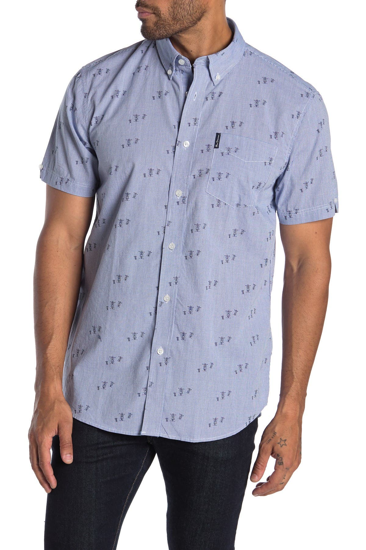 Image of Ben Sherman Scooter Print Short Sleeve Union Fit Shirt