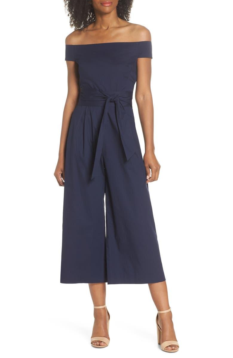 CHELSEA28 Off the Shoulder Tie Waist Crop Jumpsuit, Main, color, NAVY SAPPHIRE
