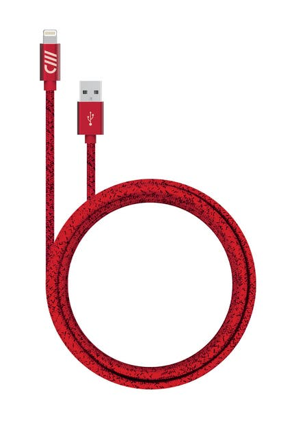 Image of CANDYWIREZ Red 10ft Splatter Marbled Woven Lighting Charge Cable