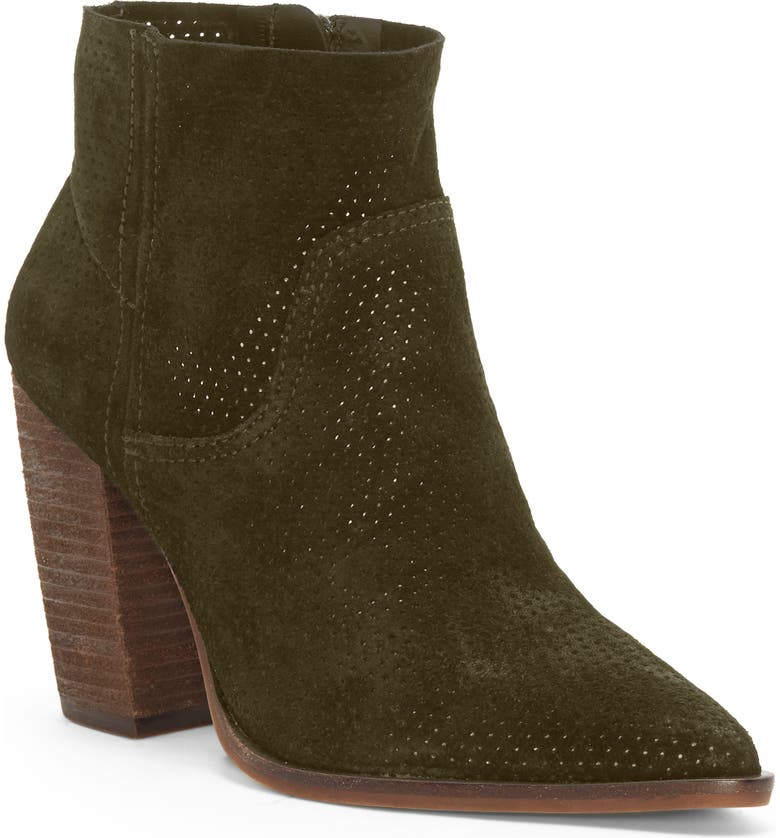 VINCE CAMUTO Cava Perforated Pointy Toe Boot, Main, color, DARK GREENERY SUEDE