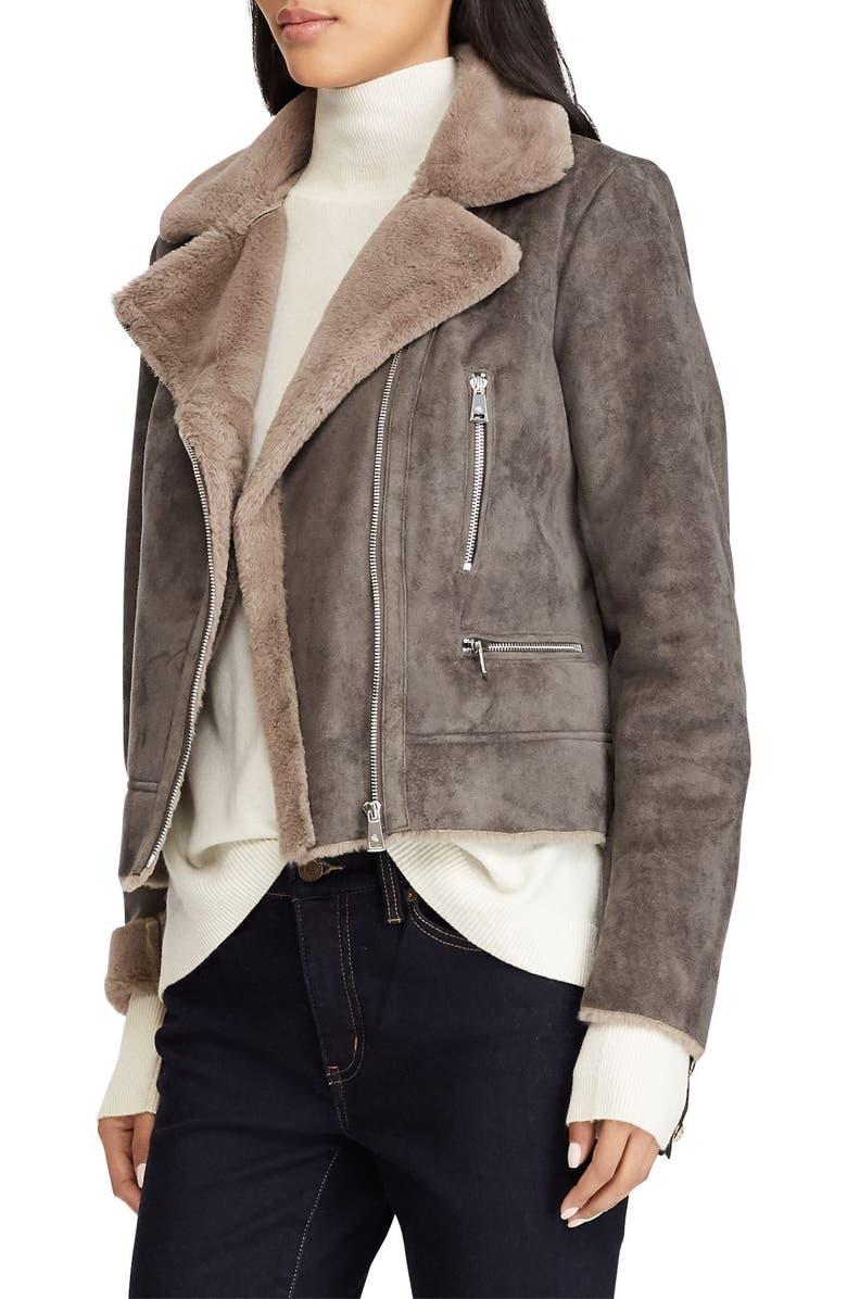 LAUREN RALPH LAUREN Faux Shearling Moto Jacket, Main, color, GREY