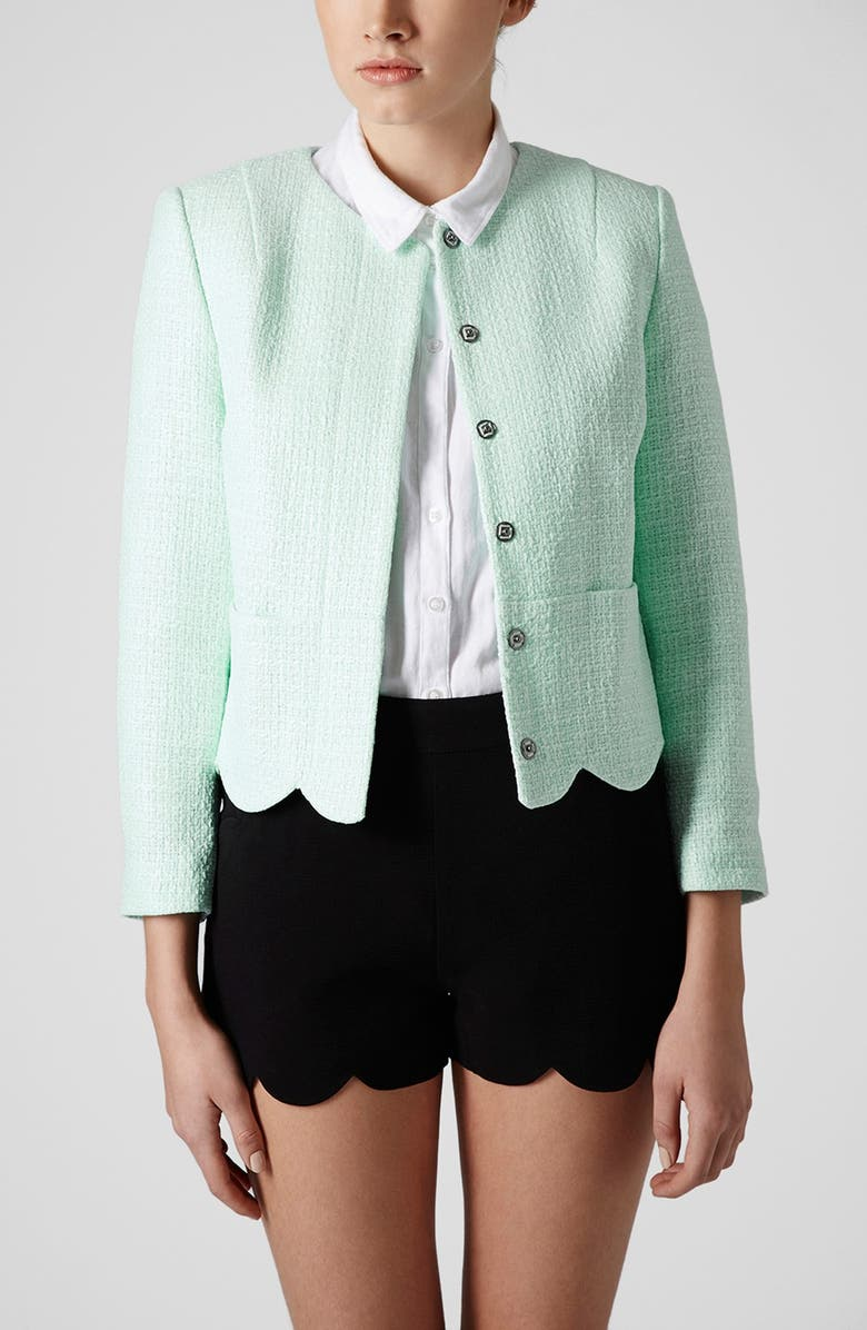 TOPSHOP 'Betty' Scalloped Coated Bouclé Jacket, Main, color, 330