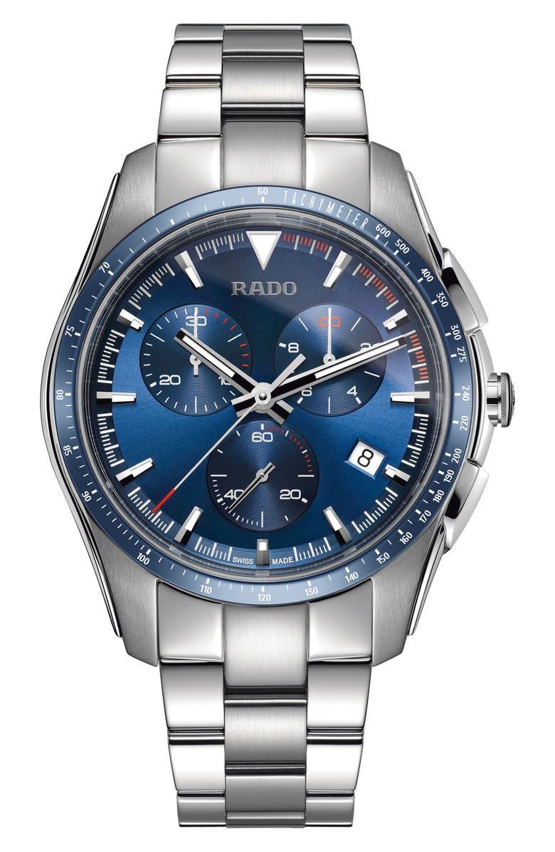 RADO HyperChrome Chronograph Bracelet Watch, 45mm, Main, color, SILVER/ BLUE/ SILVER