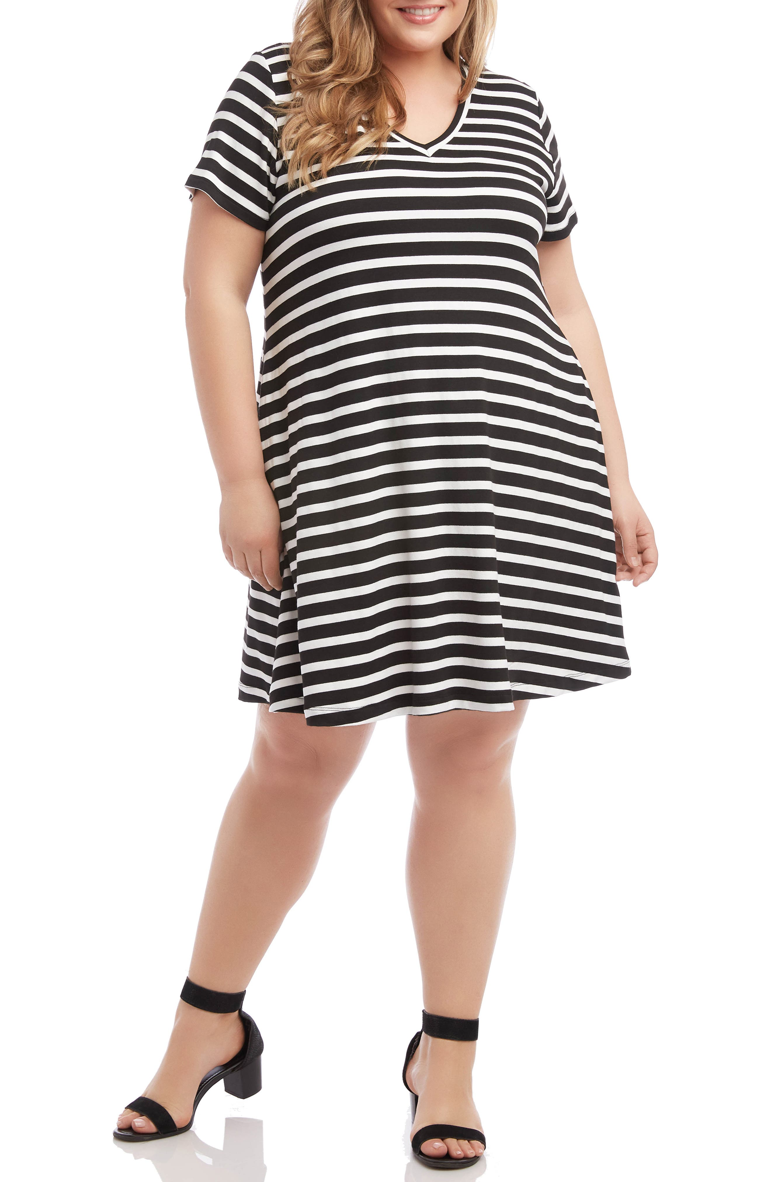 Plus Size Karen Kane Quinn Stripe Jersey Shift Dress, Black