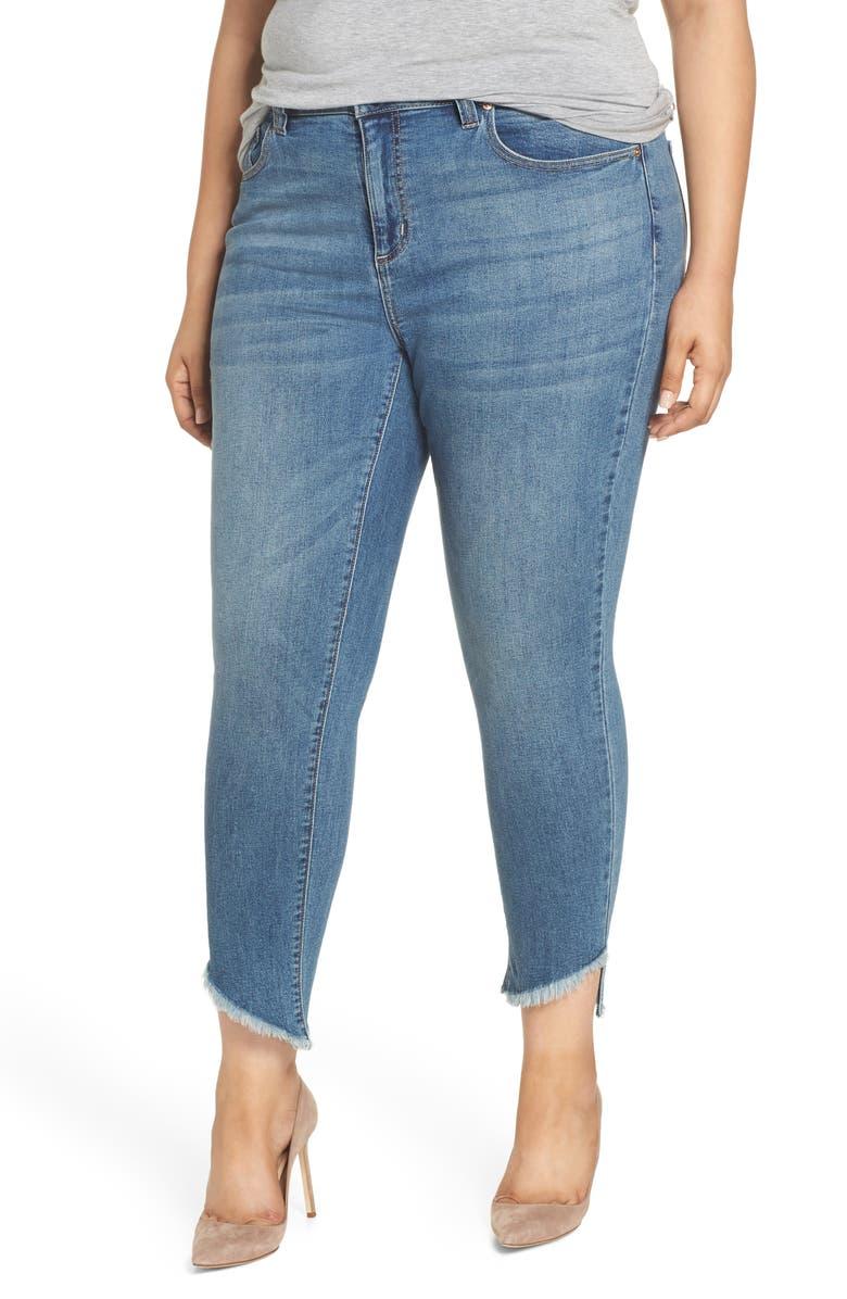 SEVEN7 Coil Step Hem Skinny Jeans, Main, color, HANA