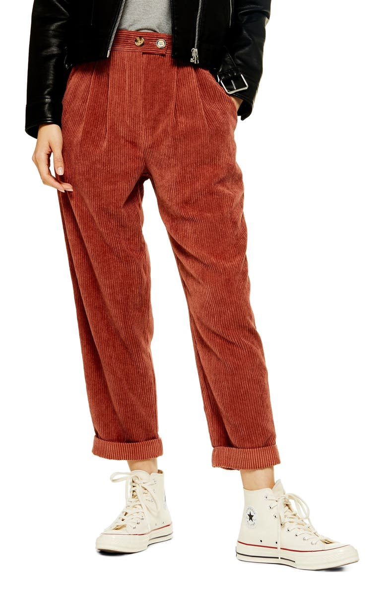 Straight Leg Cord Trousers by Topshop